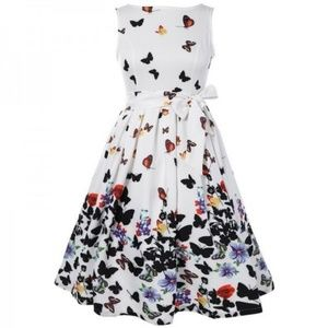 Dresses & Skirts - Butterfly Floral Print A-Line Dress